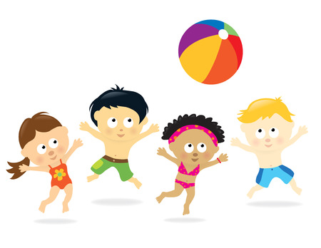 multiethnic: Multi-Ethnic Beach Kids