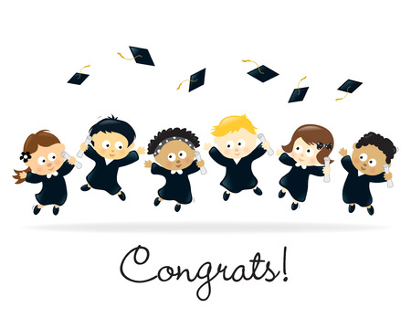 Graduation Kids - multi-ethnic Vector