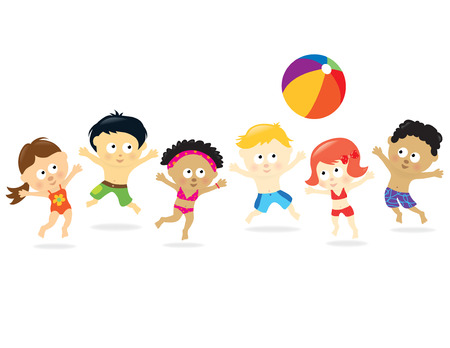kids drawing: Beach Kids - multi-ethnic