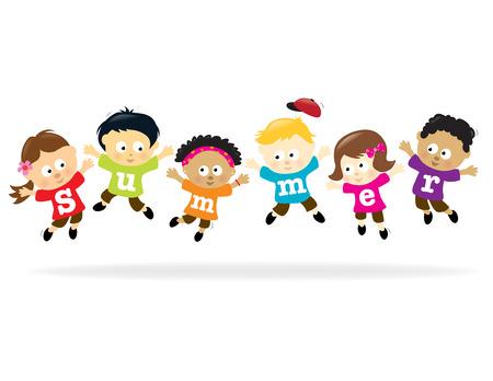 bambini cinesi: Divertimento di estate ragazzi - multietnici  Vettoriali