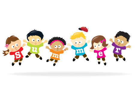 ni�os rubios: Ni�os de diversi�n de verano - multi�tnicos