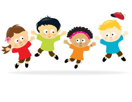 multiethnic: Jumping kids - multi-ethnic Illustration