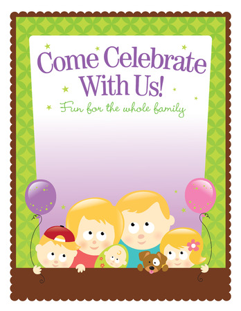 8.5x11 (ltr size) template – Blond Family  イラスト・ベクター素材