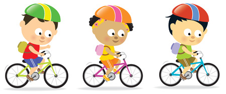 riding bike: Bambini multietnici bike  Vettoriali