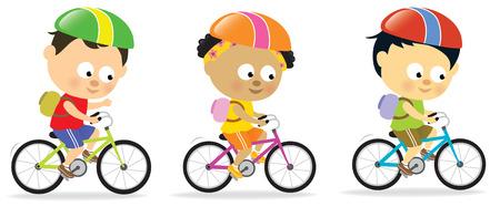 ni�os en bicicleta: Ni�os multi�tnicos ciclismo Vectores