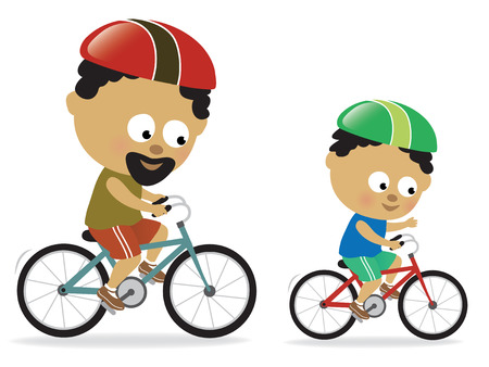 bicycle cartoon: Father and son biking (African American)