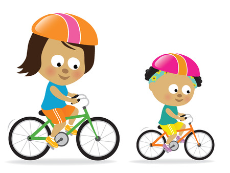 bicycle cartoon: Mother and daughter biking (African American) Illustration