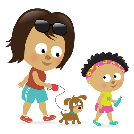 cute girl cartoon: Mother and daughter walking (African American)