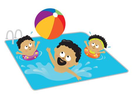 Padre e hijos jugando en una piscina (afroamericanos)  Foto de archivo - 7067354