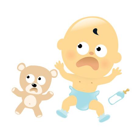 Bebé asustado y oso de peluche
