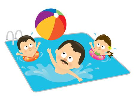 ispanico: Padre e i bambini giocare in un pool (latino-americana)