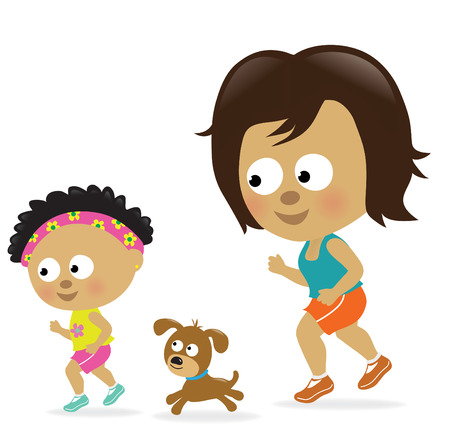 Mother and daughter jogging (African American) Çizim