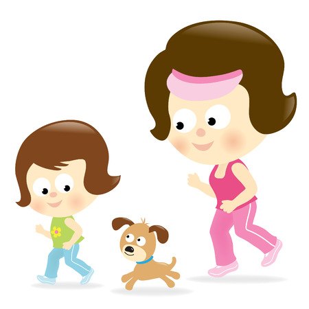 mixed family: Mother and daughter jogging