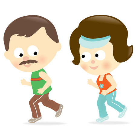 family isolated: Couple jogging