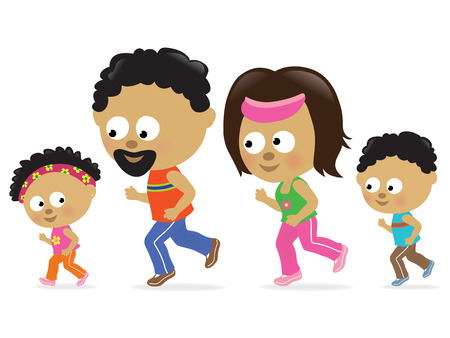 Family jogging (African American) Vector