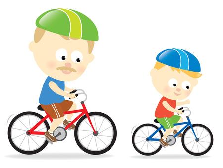 Vader en zoon fietsen  Stock Illustratie