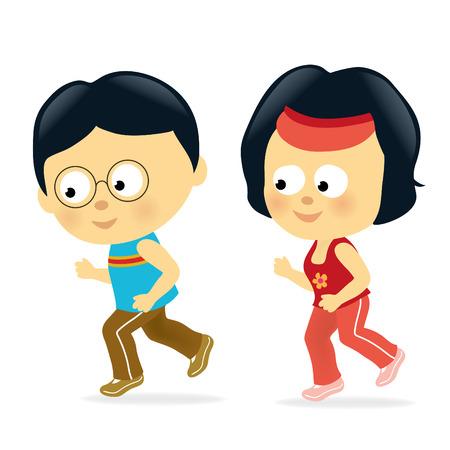 Coppia asiatici jogging  Vettoriali