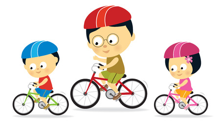 activity exercising: Father and kids biking (Asian)