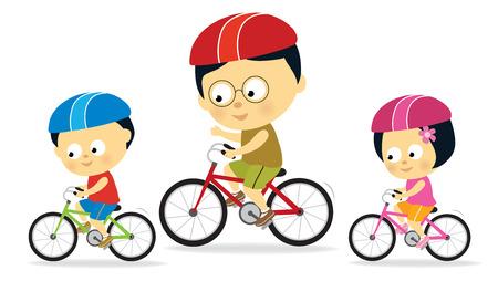bicycle cartoon: Father and kids biking (Asian)