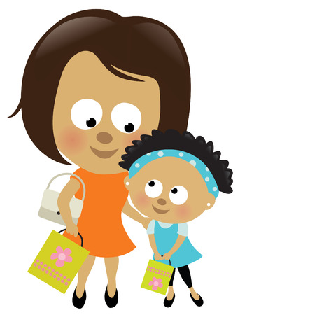kid shopping: Mother and daughter shopping (African-American) Illustration