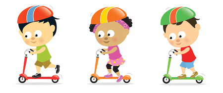 scooters: Kids on scooters 2 Illustration