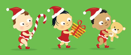 Christmas babies w/ presents Stock Vector - 8358923