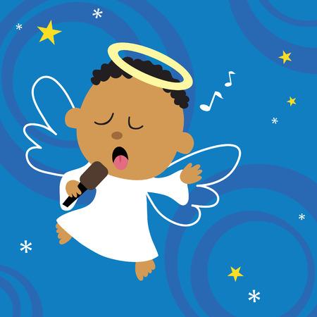 Angelo di Natale cantando il suo cuore