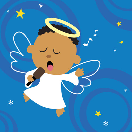 worshiping: Christmas Angel singing his heart out Illustration