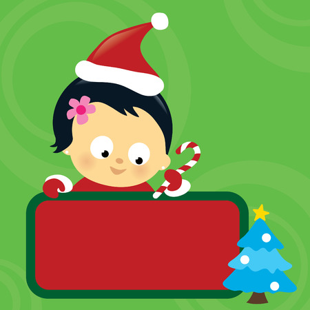 Christmas Asian baby girl holding sign Vector