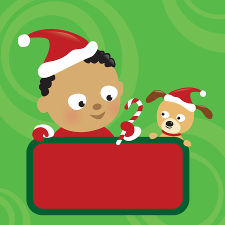 Christmas baby boy and dog holding sign Stock Vector - 8410407