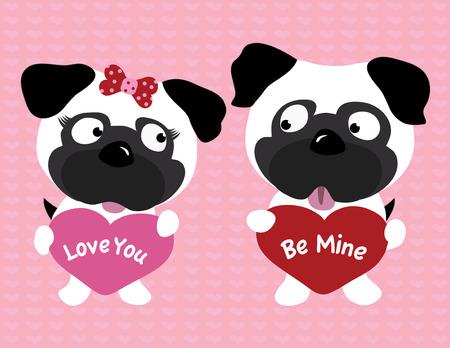 puppy love: Valentine pugs holding hearts