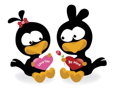 crow: Valentine birds holding hearts