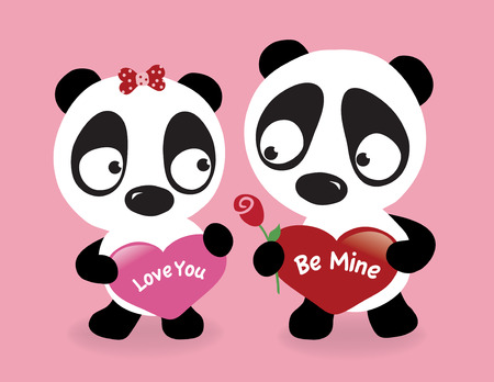 Valentine Pandas holding hearts Vector