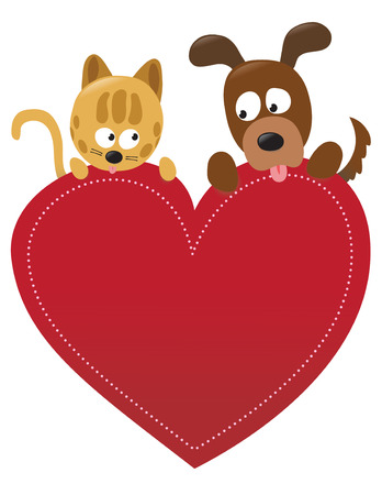 Valentine cat and dog  일러스트