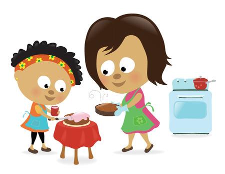 母と娘、ケーキを焼く  イラスト・ベクター素材