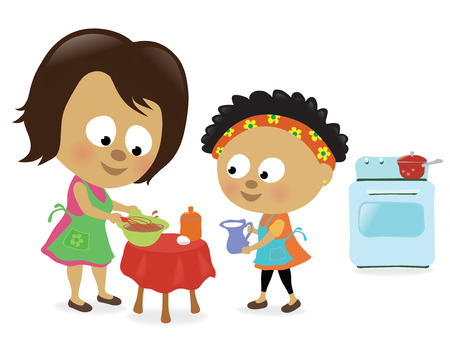 prepare: Mother and daughter making a cake Illustration