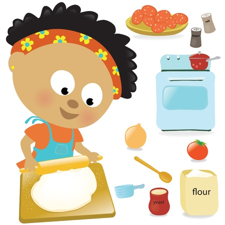 making fun: Girl rolling out dough  Illustration