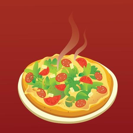 あつあつのピザ