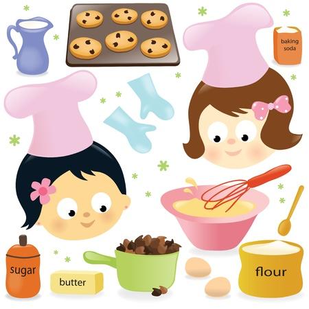 baking cookies: Due ragazze di cottura i biscotti al cioccolato