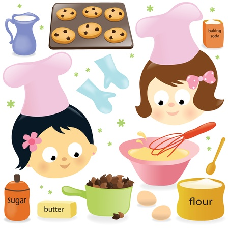 baking tray: Two girls baking chocolate chip cookies Illustration