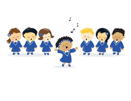 Koor zingen Vector Illustratie