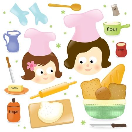 mujeres cocinando: Madre e hija hornear Vectores