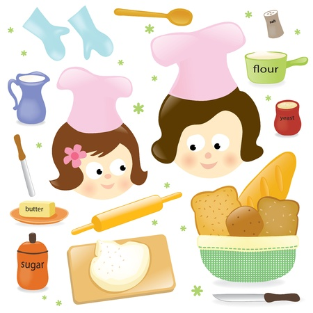baking ingredients: Mother and daughter baking