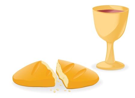 pane e vino: Comunione pane e del vino Vettoriali
