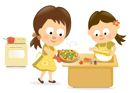 kids having fun: Mother and daughter baking pizza Illustration
