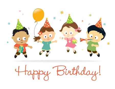birthday flowers: Hartelijk gefeliciteerd kinderen Stock Illustratie