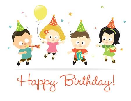 happy birthday baby: Feliz cumplea�os 2 ni�os Vectores