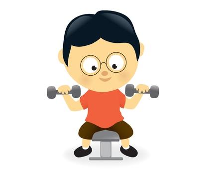 obesidad: Pesas de gimnasia de elevaci�n del hombre