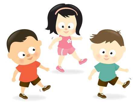 people having fun: Kids exercising Illustration