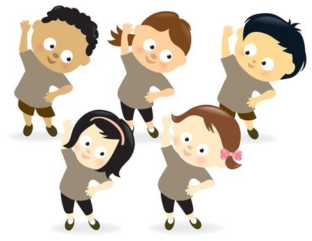 Kids exercising Illustration